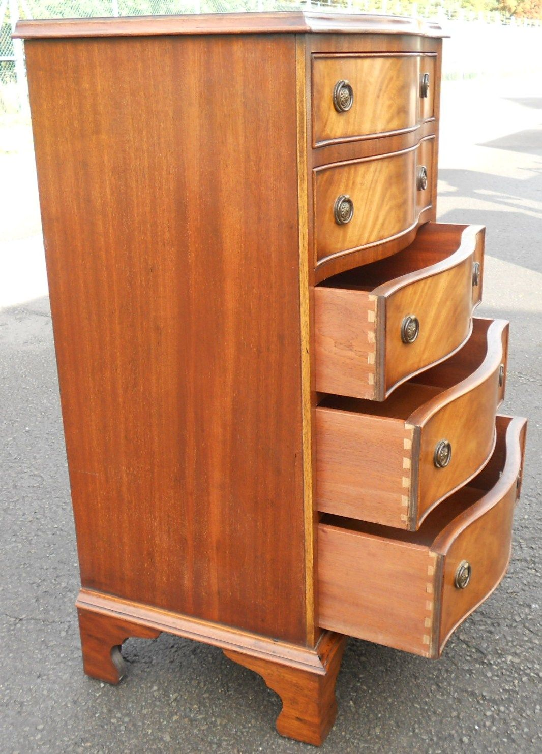 Tall Mahogany Serpentine Front Chest Of Drawers